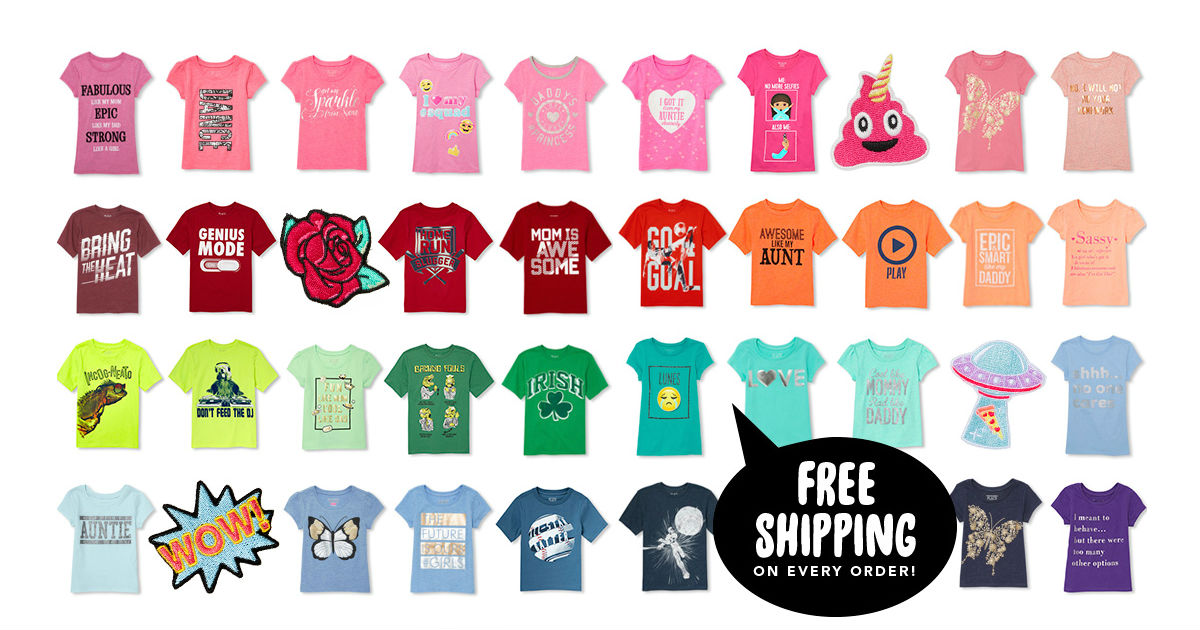 7152359f The Children's Place has a BIG Sale on graphic tee shirts as low as $1.99!  with ALL of them Under $5.00! Tee's are normally $5- $9.99.